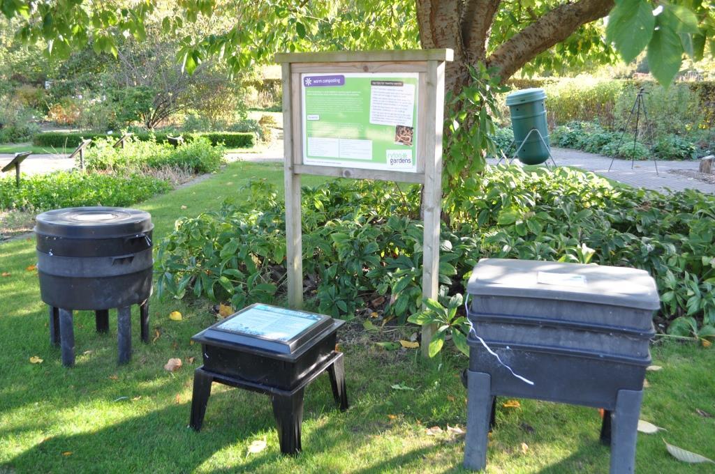 worm composting bins at garden organic hq at ryton gardens
