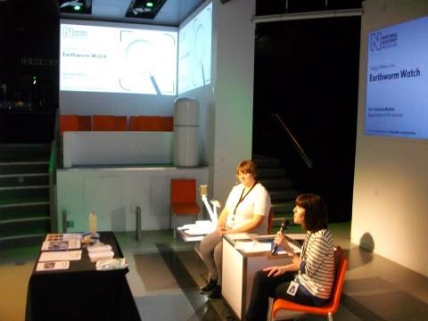 Earthworm Watch scientist Victoria Burton presenting at NHM Nature Live