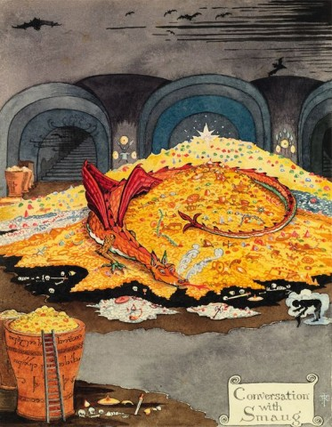 Conversation with Smaug by J.R.R. Tolkien in The Hobbit.